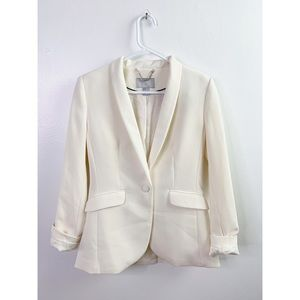 H&M Ivory Single Breasted Fitted Blazer Jacket